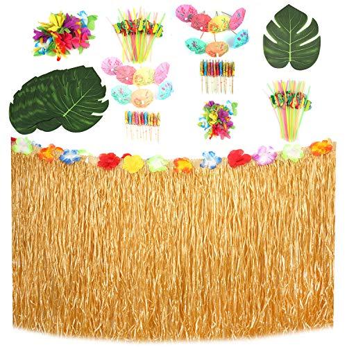 Lawei 121er Pack Hawaii Luau Party Tischröcke Dekoration Hawaii für DIY Garten Beach Tiki Party - Tischrock, Palmenblätter, Hibiskusblüten, Strohhalme,Mini Papierschirm