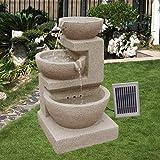 Wehmann Solarspringbrunnen Solarbrunnen Eden Garten Brunnen Kaskade Komplettset für Garten und Terrasse Tag und Nacht ! NEU mit Netzteil gratis