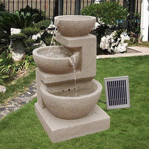 Wehmann Solarspringbrunnen Solarbrunnen Eden Garten Brunnen Kaskade Komplettset für Garten und Terrasse Tag und Nacht ! ✔NEU mit Netzteil gratis