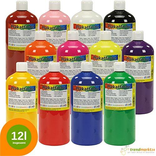 trendmarkt24 Temperafarben 12er Set wasserlöslich für Kinder ab 3 Jahren ★ 12 Farben je 1 Liter ✓Plakatfarben Schulmalfarben ✓hochwertige Kindermalfarbe | Schulfarben Kindergarten ✓ Wasserfarben 1620