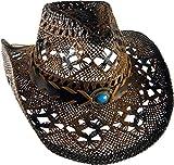 Cowboyhut Braun mit braunem Hutband leichter Strohhut Unisex