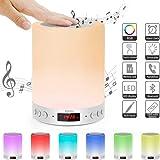 5 EN 1 Lampe de Chevet Tacile Portable Bluetooth Musique Lampe de Table,Trois Réglages de luminosité et Septde Couleur,chaude