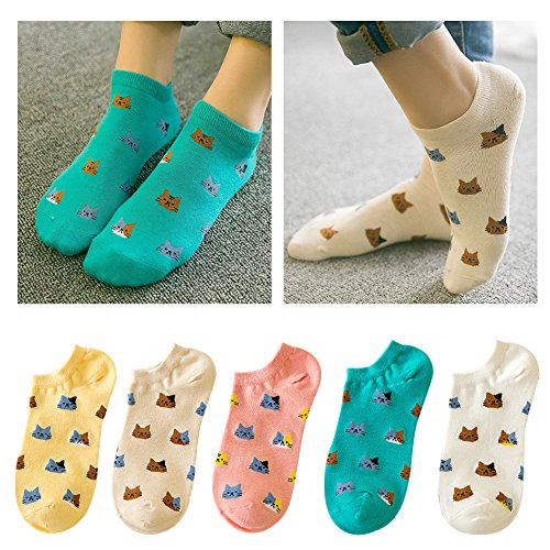 Lamdgbway 5 Pairs Women Socks Casual Cotton Ankle Sock Low Cut No Show Socks