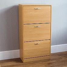 Vida Designs 3 Drawer Shoe Cabinet Cupboard Shoe Storage Organiser Pull Down Wooden Furniture Unit, Pine