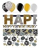Feste Feiern Geburtstagsdeko Zum 30 Geburtstag | 8 Teile All In One Set Luftballon Girlande Konfetti Gold Schwarz Silber Party Deko Happy Birthday