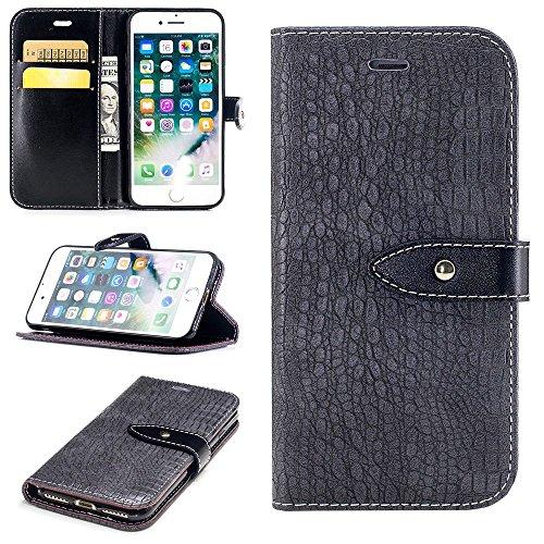 """MOONCASE iPhone 7 Plus/iPhone 8 Plus Hülle, Weich PU Leder mit Standfunktion Handysocken Built-in Card Holster Folio Brieftasche Case für iPhone 7 Plus/iPhone 8 Plus 5.5"""" Dunkelbraun Grau"""