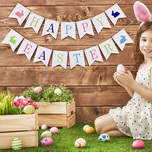 Chuangdi Happy Easter Papier Banner Bunny Pattern Bunting Girlande für Ostern Party Foto Requisiten Zubehör