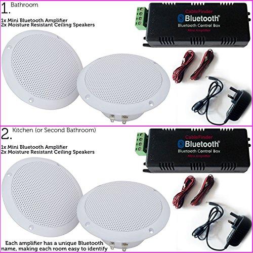 4x 80W Küche/Badezimmer Deckenleuchte Lautsprecher &/Bluetooth/Wireless AMP KIT-Multi-Room-Dusche HiFi Music System/Player-2, Twin, Dual Zone unempfindlich gegen Feuchtigkeit Audio-Cablefinder -