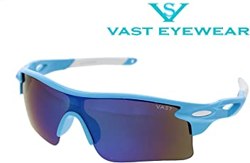 Vast UV Protection Unisex Sport Sunglasses (9181c15/Blue Mirror Lens)