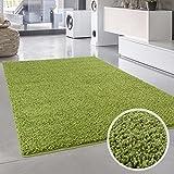 Teppich Uni Langflor Shaggy Modern Einfarbig Rechteckig Wohnzimmer Schlafzimmer, Farbe:Grün, Größe in cm:80 x 150 cm