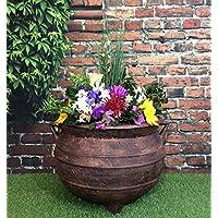 Tamaño grande de caldero de brujas de jardín macetero 45,72 cm efecto bronce