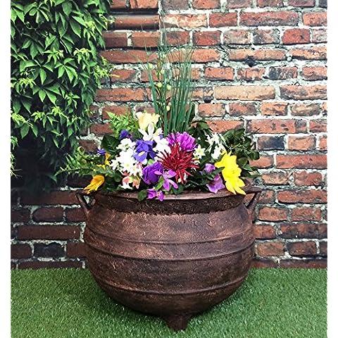 Maceta de jardín de brujas caldero gran efecto bronce de 18pulgadas