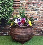 Brujas de jardín macetero de caldero de tamaño grande 38,1 cm efecto bronce
