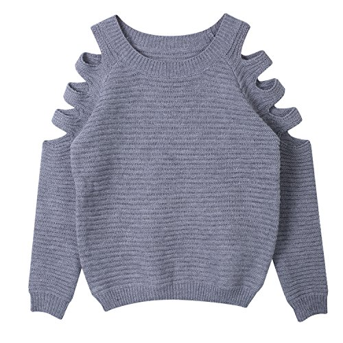 Damen Schulterfrei Langarm Crewneck Sweater Tops Hoodie (S(EU 34), Grau)