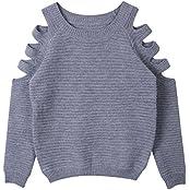 Damen Schulterfrei Langarm Crewneck Sweater Tops Hoodie