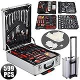 Yahee 599-teilig Werkzeugkoffer Werkzeugkasten Werkzeugkiste Werkzeugbox Trolley in ALU koffer