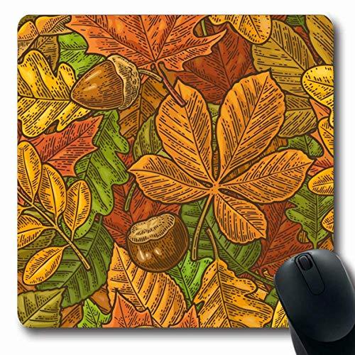 Luancrop Mousepads für Computer Platte Herbst Blätter Eichel Kastanien Samen Akazie Natur Grüne Birke Schwarz Kanada Kanadische Farbe Design rutschfeste Längliche Gaming-Mausunterlage (Kanadische Platte)