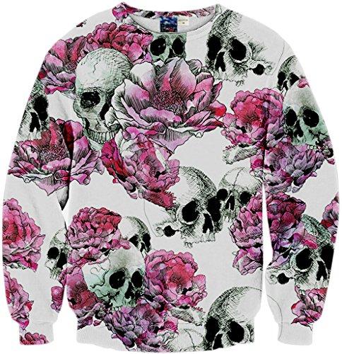 Pizoff Unisex Hip Hop Sweatshirts mit 3D Digital Print 3D Muster skull blumen toten Y1759-A6-L (Blumen-print Reißverschluss)