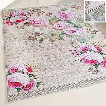 Amazon De Mynes Home Waschbarer Teppich Blumen Bluten Design Shabby