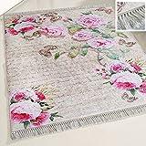 mynes Home Waschbarer Teppich Blumen Blüten Design Shabby Chic Rosa Rose Vintage Landhausstil Modern Designer mit Anti-Rutsch Rücken für Küche Küchenläufer Wohnzimmer (80cm x 150cm)