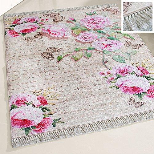 Blumen-teppich-designs (mynes Home Waschbarer Teppich Blumen Blüten Design Shabby Chic Rosa Rose Vintage Landhausstil Modern Designer mit Anti-Rutsch Rücken für Küche Küchenläufer Wohnzimmer (80cm x 150cm))