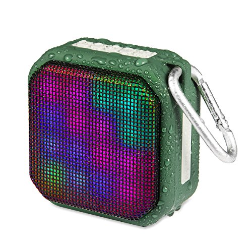 OG-EVKIN Portable Wireless Bluetooth Speakers, Waterproof IPX4 Stereo Bluetooth Speaker with 7 LED Visual Modes and Build-in Microphone Hands-free Phone Call and FM, Pairs with All Bluetooth Device