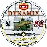 WFT Round Dynamix Zander yellow 150m, geflochtene Schnur fürs Zanderangeln, Raubfischschnur, gelbe Angelschnur, Durchmesser/Tragkraft:0.10mm / 9kg Tragkraft