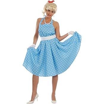 Fiestas Guirca Costume da Ballo Azzurro a Pois Bianchi Vestito Anni 60  Boogie 6305c192f26