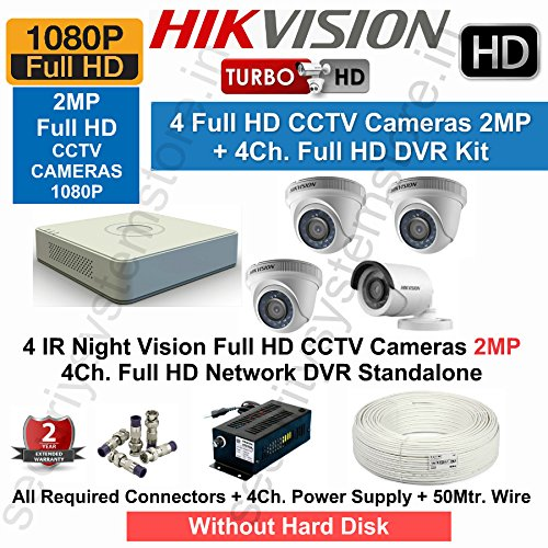 Hikvision Full HD 4 CCTV Cameras (2MP) with Full HD 4Ch. DVR Kit with All Accessories