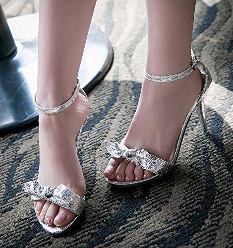 Mee Shoes Damen modern Stiletto ankle-strap Schnalle Knöchelriemchen mit Schleife open-toe Sandaletten Silber