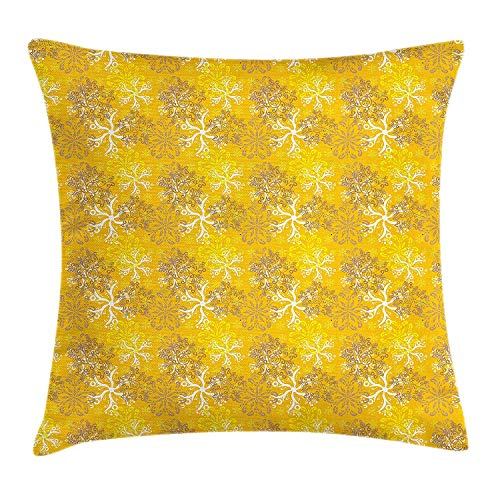 XIAOYI Yellow and White Throw Pillow Cushion Cover, Snowflakes Design with Swirls and Curves on Yellow Toned Backdrop, Decorative Square Accent Pillow Case, 18 X 18 inches, Marigold Yellow Tan -