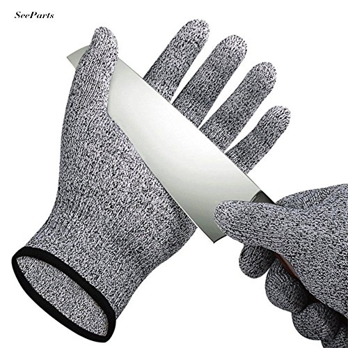 Cut Resistant Gloves, 1 Pair of Safety Kitchen Cuts Gloves for Oyster Shucking, Fish Fillet Processing, Mandolin Slicing, Meat Cutting and Wood Carving EU-SPK-016-L