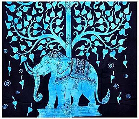 Indian Hippie Bohemian Psychedelic Twin-size Tapestry-tree-blue-elephant