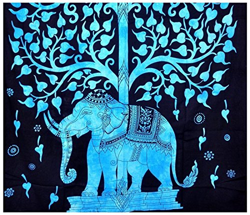 indien-hippie-boheme-psychedelique-twin-size-tapestry-tree-blue-elephant-54-x-72