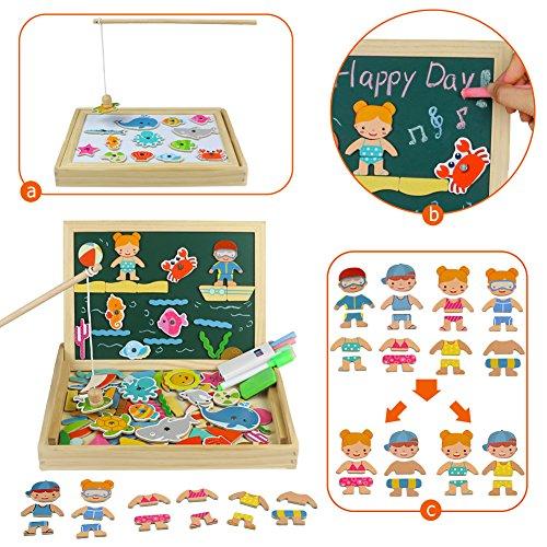Magnetisches Holzpuzzle, Hölzernes magnetisches Tier Holzpuzzles Brett Doppelseitiges Zeichnen Weißes Tafel Staffelei für Kinder 3 4 5 Jahre alt (110 Stücke)