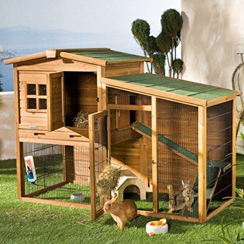Preisvergleich Produktbild wetterfester Kaninchenstall mit Freigehege 160 x 80 x 117 cm Stall und Unterlauf mit Bitumendach 4 Türen und Reiningungswanne für Kaninchen Hasen Hühner Hühnerstall Hasenstall