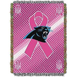 Carolina Panthers Couvre-lit tressé Motif NFL (ruban rose Cancer du sein) - 48 x 60)
