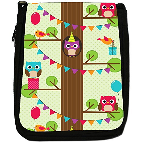 Gufi, alta In The Tree Top-Borsa a tracolla In tela, colore: nero, taglia: M Nero (Party Owls Balloons & Gifts)