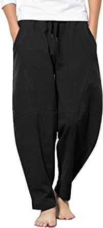 JINIDU Men Linen Trouser Loose Fit Casual Lightweight Drawstring Yoga Beach Pant