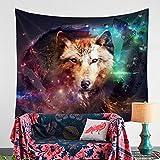 QCWN - Tapiz multicolor con diseño de lobo galaxia y gato hipster para colgar en la pared,...