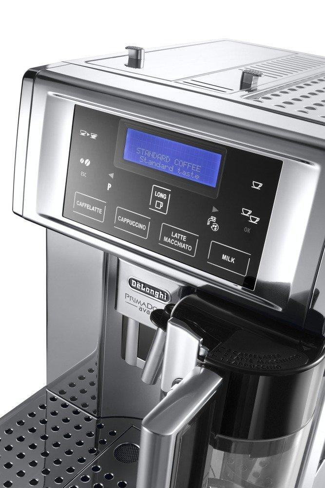 DeLonghi-PrimaDonna-Avant-Chrome-ESAM-6750-Kaffeevollautomat-Sensor-Bedienfeld-integriertes-Milchsystem-Lieblingsgetrnke-auf-Knopfdruck-Edelstahlgehuse-2-Tassen-Funktion-Verchromtes-Edelstahl