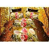 200x220 3D Bettwäsche 3tlg Bettwäscheset Blumen-Motiv Bettbezüge Microfaser Bettwäschegarnituren FSH 417