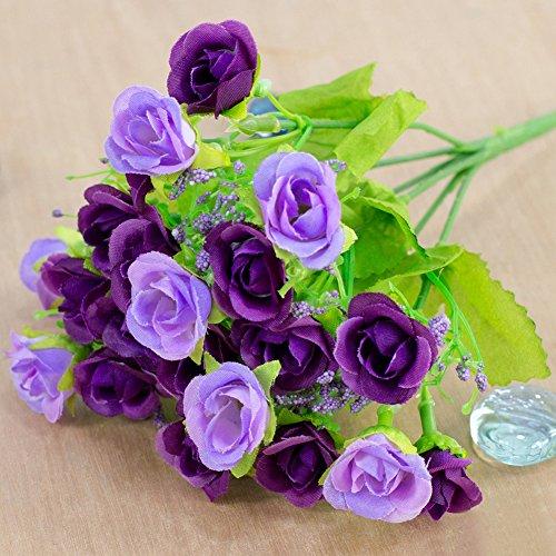 Künstliche Rose Blumen hinmay 1Bouquet 21, Rosen, Seide, Blume, Hochzeit, Blumensträuße, Valentinstag, Dekoration, violett, Free Size