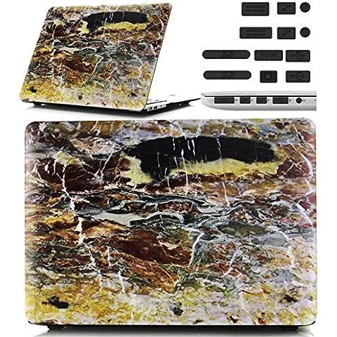 Macbook Retina 12 pollici Custodia Copertina - Ultra Slim Notebook Laptop Case Plastica Cover Rigida Duro Paraurti in Marmo Solido Modello Giallo Caso per Apple The New Macbook 12