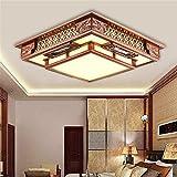 BRIGHTLLT Antike chinesische Wohnzimmer Deckenlampe aus Holz Lampe rechteckige Schlafzimmer Studie Restaurant Led, 560 mm Lampen