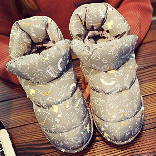 DogHaccd pantofole,Luce il lusso all-inclusive inverno uomini e donne matura con anti-slittamento interno casa bella calda felpa cotone mop Grigio scuro3