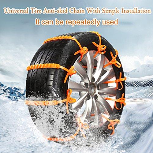 Preisvergleich Produktbild 10PCS/Pack Snow Tire Kette, Auto Tire rutschsicheren Kette Notfall Tire rutschfeste Kette für Sand Road Schnee Road (Schnee Schaufel + Anti-Rutsch Handschuhe)