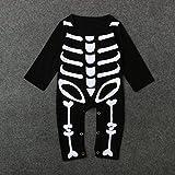 Disfraz para bebés con diseño de esqueleto, de 0 a 24 meses, de la marca Zooarts, negro, 80 (6-12 Meses)