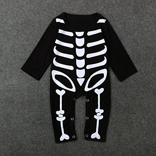 eugeborene von Zooarts, für Mädchen und Jungen, Motiv: Halloween, Skelett, Strampler, Overall, Sommerbekleidung für 0-24 Monate alte Babys, Babybekleidung, schwarz, 70 (0-6 Months) (Herren Skeleton Bodysuit)