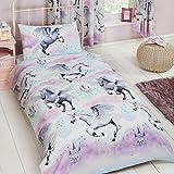 Stardust Licorne Teal/violet Junior housse de couette et taie d'oreiller + matelas pour tout-petits couverture imperméable 140 x 70 cm